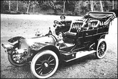 Tsarevitch Aleksey Nicholaevich, in 1909, sitting behind the wheel of a French made Delaunay-Belleville touring car. Delaunay-Belleville was the Tsar's favorite car.