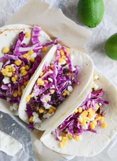 Crockpot Brisket Tacos with Shredded Cabbage + Sweet Corn | howsweeteats.com