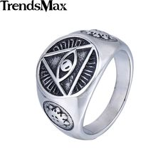 Trendsmax  Illuminati pyramid eye symbol Gold Plated 316L Stainless steel Signet Ring Mens Jewelry HR365