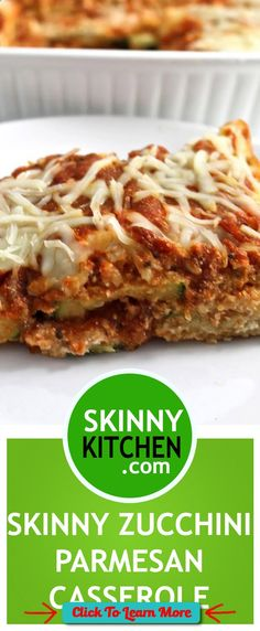 #FastestWayToLoseWeight by EATING, Click to learn more, (NEW Recipe) Skinny Zucchini Parmesan. If you love Eggplant Parmesan, you'll love this! Each slice has 239 calories, 5g fat & 6 Weight Watchers POINTS PLUS. www.skinnykitchen... , #HealthyRecipes, #FitnessRecipes, #BurnFatRecipes, #WeightLossRecipes, #WeightLossDiets