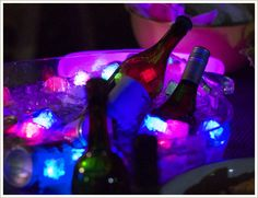 LED light cubes for an outdoor party.  Lots of good ideas here for outdoor movie night!