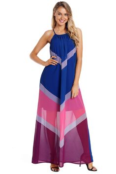 6bb5389e20b0 Blue Chevron Color Block Halter Neck Maxi Dress
