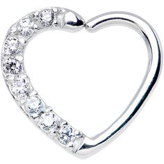 16 Gauge Clear CZ Heart Right Closure Daith Cartilage Tragus Earring