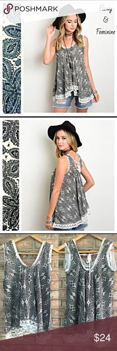 "Feminine & Flowy Paisley Lace Hem Tank S/M M/L Flowy and feminine paisley tank with lace hem. Black & white light & airy rayon with a loose fit. Sexy tie in back❤️❤️❤️❤️❤️❤️ Length 28"" S/M  B36 W42 M/L  B38 W44 lace Tops Tank Tops"