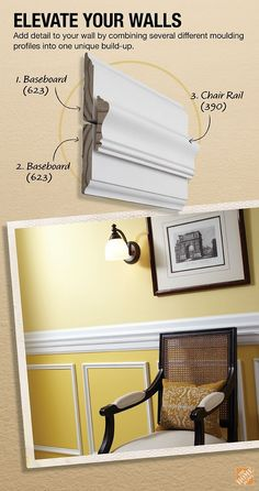 Just follow the easy instructions for this classic chair rail build-up project to create a customized crown moulding in your home.:
