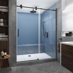 Aston Coraline Xl 64 68 In X 80 In Frameless Sliding Shower Door With Starcast Clear Glass In Bronze Left Hand Sdr984ez Uc Nbr 6880 L The Home Depot In 2020 Frameless Sliding Shower