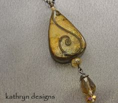 Handmade teardrop necklace with crystal accent vintage inspired gift