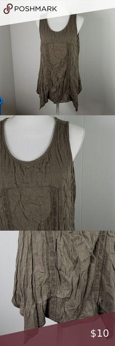 Sonoma : Handkerchief Hem Tank Cool tone brown green color, casual tank top with asymmetrical laggenlook hem. Sonoma Tops Tank Tops