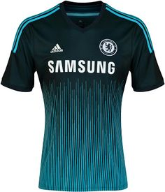 - Chelsea FC 2014/15 Alternative 3rd Kit - Deep dark metallic green with a turquoise 'digital sound wave' vertical like pattern on lower half of kit. Adidas - Turquoise shoulder stripes. Premier League.