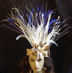 Tahitian And Rarotongan Headpiece.Weaved Palm by TiareOPatitifa Hawaiian Themed Outfits, Cloth Flowers, Flower Headpiece, Sea Shells, Palm, Leaves, Feathers, Costumes, Group