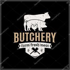 Baixar - Logotipo de loja de carniceiro de estilo retrô. Modelo de rótulo de carne com silhuetas de animais de fazenda e facas — Ilustração de Stock #123928886