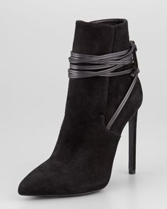 Pointed-Toe Leather-Wrap Suede Ankle Boot, Black by Saint Laurent at Neiman Marcus.