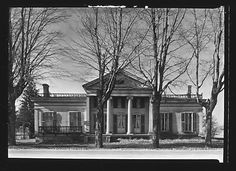 Walker Evans, [Greek Revival House with Ionic Columns in Full Height Entry Porch and For Sale Sign, New York State] Greek Revival Architecture, Types Of Architecture, Classic Architecture, Abandoned Houses, Old Houses, Greek Revival Home, American Houses, Plantation Homes, For Sale Sign