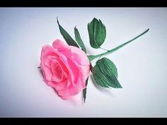 Como hacer Rosa de papel crepe - rosas con una tira de papel muy facil - YouTube