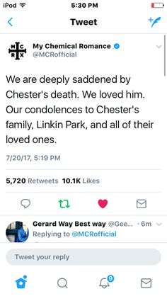 WHEN MY CHEM TWEETS........RIP Chester :(