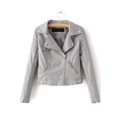 SheIn(sheinside) Grey Textured Detail PU Jacket With Zipper ($35) ❤ liked on Polyvore featuring outerwear, jackets, grey, grey jacket, collar jacket, zip jacket, gray jacket and pu jacket