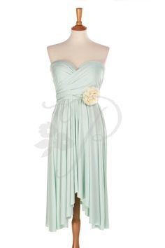 Bridesmaid Dress Infinity Dress Mint Knee Length by thepeppystudio