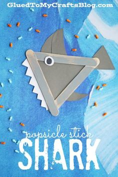 DIY Popsicle Stick Crafts For Kids Easy & Fun: Popsicle Stick Animals - Shark Craft Popsicle Crafts, Glue Crafts, Craft Stick Crafts, Craft Kids, Kids Crafts, Craft Sticks, Yarn Crafts, Craft Stick Projects, Beach Crafts For Kids