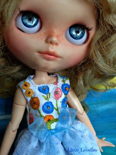 BLYTHE DOLL Dress - OOAK - Vintage embroidered linen bodice feature by…