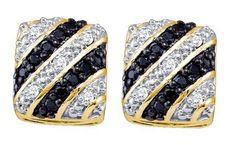10KT Yellow Gold 0.27CTW BLACK DIAMOND FASHION EARRING