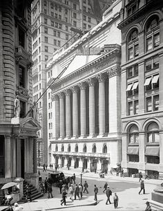 New York, Wall Street.New York Stock Exchange year cca 1900.New York City art print, NY City photography.