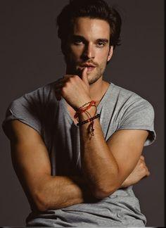 Daniel DiTomasso - v neck tee and bracelets. So sexy.
