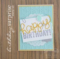 Cute birthday cards using Stampin' Up!'s Birthday Surprise Stamp Set - Krista Frattin