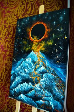 "Original oil painting "" Volcano "" 2019 Solar eclipse Mountains landscape oil painting on canvas mountain by Julia Makors / / Sun Painting, Sculpture Painting, Oil Painting On Canvas, Canvas Art, Orion Nebula, Helix Nebula, Carina Nebula, Andromeda Galaxy, Colorful Paintings"