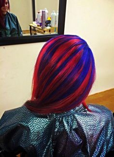 Super hero hair by Jennifer Sexton! Red hair with blue highlights