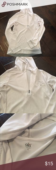 White dri fit pull over- brewery embroidery White Dri Fir size Medium. Great condition. Michelob Ultra Embroidery on the chest. Side zip pocket. ALO Yoga Jackets & Coats