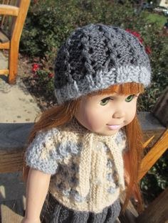 Knitted blouse and a hat for 18 inch doll
