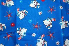 Your place to buy and sell all things handmade Hello Kitty Backgrounds, Global Style, Sanrio Hello Kitty, July 4th, American Flag, Printing On Fabric, Snoopy, Stripes, Kawaii