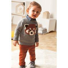 Baby sweatshirt with a fox print. Fashion Kids, Toddler Boy Fashion, Little Boy Fashion, Toddler Boys, Little Boy Outfits, Toddler Outfits, Baby Boy Outfits, Outfits Niños, Kids Outfits
