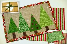Seasonal trees as a set of mug rugs / coasters with biscuit or toast rm.