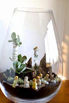 Presépios criativos - presépio de terrário ou aquário