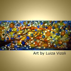 ORIGINAL Abstract 72x36 Painting on Canvas Summer Rain Large