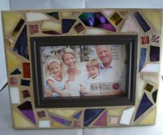 Purple Yellow & White Stained Glass Frame by breakitupdesigns