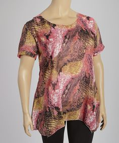 Another great find on #zulily! Pink & Orange Abstract Scoop Neck Top - Plus #zulilyfinds