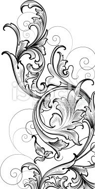 Scrollwork Corner Cluster hand engraving swirls Royalty Free Stock Vector Art Illustration