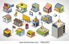 Pixels Art isometric buildings - stock vector