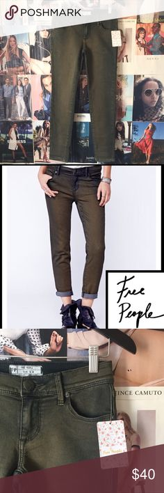 """Free People   olive Maris skinnys Cute, practical, versatile--the olive green goes with nearly everything blue jeans go with. Just a bit more interesting! Waist 27"""". Inseam 26"""". Stretchy. NWT. Free People Jeans Skinny"""
