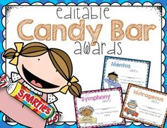 OVER FIFTY Colorful EDITABLE End of the Year Candy Bar Superlative Awards for the End of School. I love this style of kids for the certificates and I think your kids will, too! Each candy bar was hand-drawn for a personal touch!You can now edit the description!!