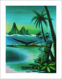 Dawn of Marquesan Modern.   Tiki Magazine cover art, spring 2013, Lthograph print..