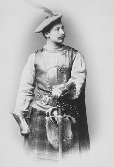 Photograph showing Prince William of Prussia in Highland dress, with a breastplate and metal gauntlets; Royal Princess, Princess Victoria, Queen Victoria, Adele, Vintage Photography, Amazing Photography, German Royal Family, European Costumes, Royal Collection Trust