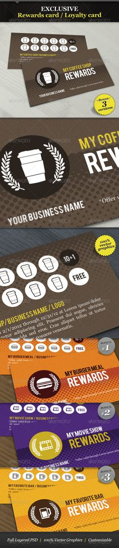 Coffee Shop Rewards Card / Loyalty Card - GraphicRiver Item for Sale