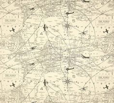 4 yards of Air Traffic Airplane Map Vintage  -  Decorator Fabric- Home Decor Duck Cloth Natural / Grey
