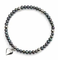 Elements Sterling Silver Ladies' B3832B Grey Pearl Elasticated Bracelet with Silver Beads and Heart Drop: BJCUK: Amazon.co.uk: Jewellery