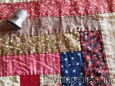 Early! ANTIQUE Log Cabin QUILT BLOCK Beautiful Fabrics Frame or Pillow www.Vintageblessings.com