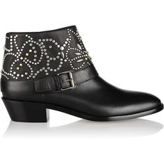 Valentino Studded leather ankle boots ($790) ❤ liked on Polyvore featuring shoes, boots, ankle booties, black, bootie boots, leather booties, leather bootie, black ankle booties and short black boots