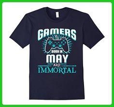 Mens Funny Gamers Born In May Are Immortal Birthday Shirt Large Navy - Birthday shirts (*Amazon Partner-Link)